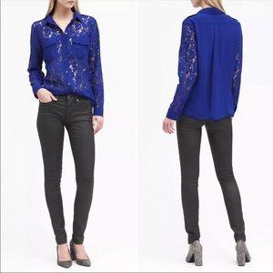 Banana Republic Lace Utility Shirt Royal Blue